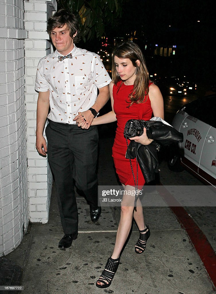 Evan Peters and Emma Roberts are seen at Chateau Marmont on April 27, 2013 in Los Angeles, California.