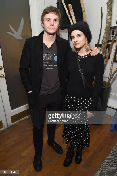 Evan Peters and Emma Roberts attend the American Animals afterparty at the Grey Goose Blue Door during Sundance Film Festival on January 19 2018 in...