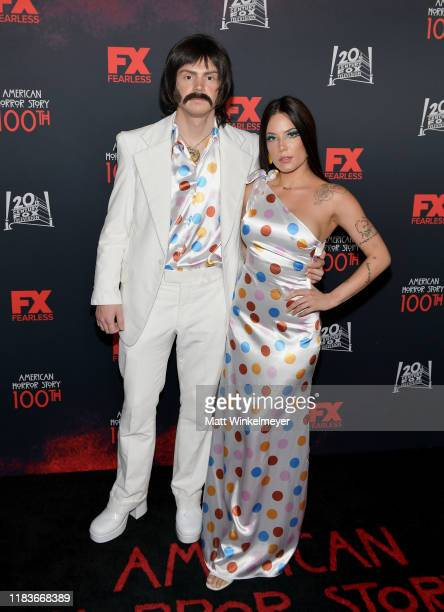 Evan Peters and Halsey attend FX's American Horror Story 100th Episode Celebration at Hollywood Forever on October 26 2019 in Hollywood California