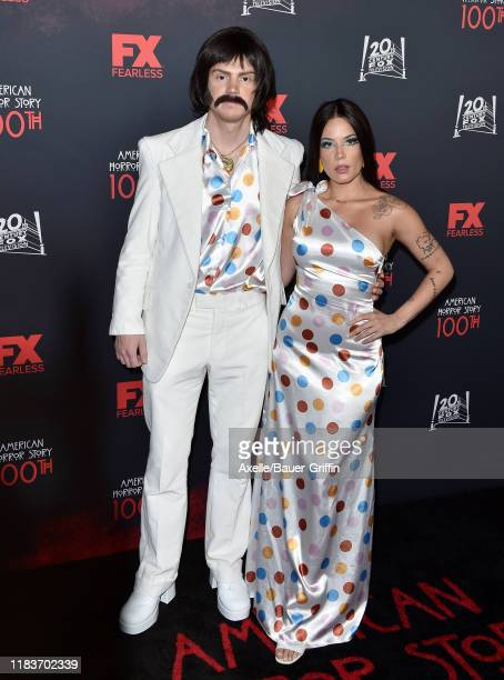 """Evan Peters and Halsey attend FX's """"American Horror Story"""" 100th Episode Celebration at Hollywood Forever on October 26, 2019 in Hollywood,..."""