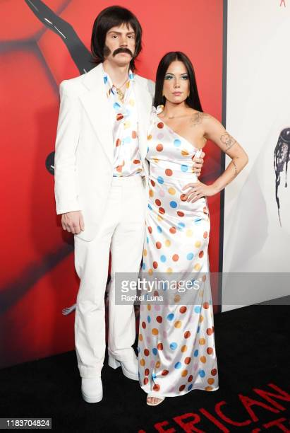 "Evan Peters and Halsey attend FX's ""American Horror Story"" 100th Episode Celebration at Hollywood Forever on October 26, 2019 in Hollywood,..."