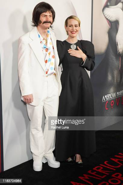 Evan Peters and Sarah Paulson attend FX's American Horror Story 100th Episode Celebration at Hollywood Forever on October 26 2019 in Hollywood...