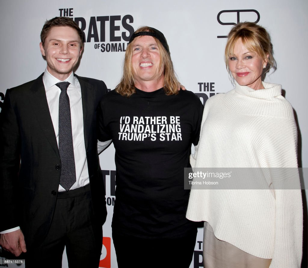 Evan Peters, Bryan Buckley and Melanie Griffith attend the premiere of 'The Pirates Of Somalia' at TCL Chinese 6 Theatres on December 6, 2017 in Hollywood, California.