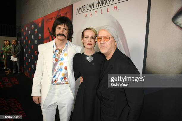 Evan Peters Sarah Paulson and Ryan Murphy attend FX's American Horror Story 100th Episode Celebration at Hollywood Forever on October 26 2019 in...