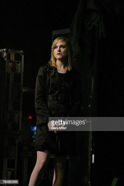 Evan Rachael Wood girlfriend of Marilyn Manson watches him performs at the Verizon Wireless Amphitheater on September 2 2007 in San Antonio Texas