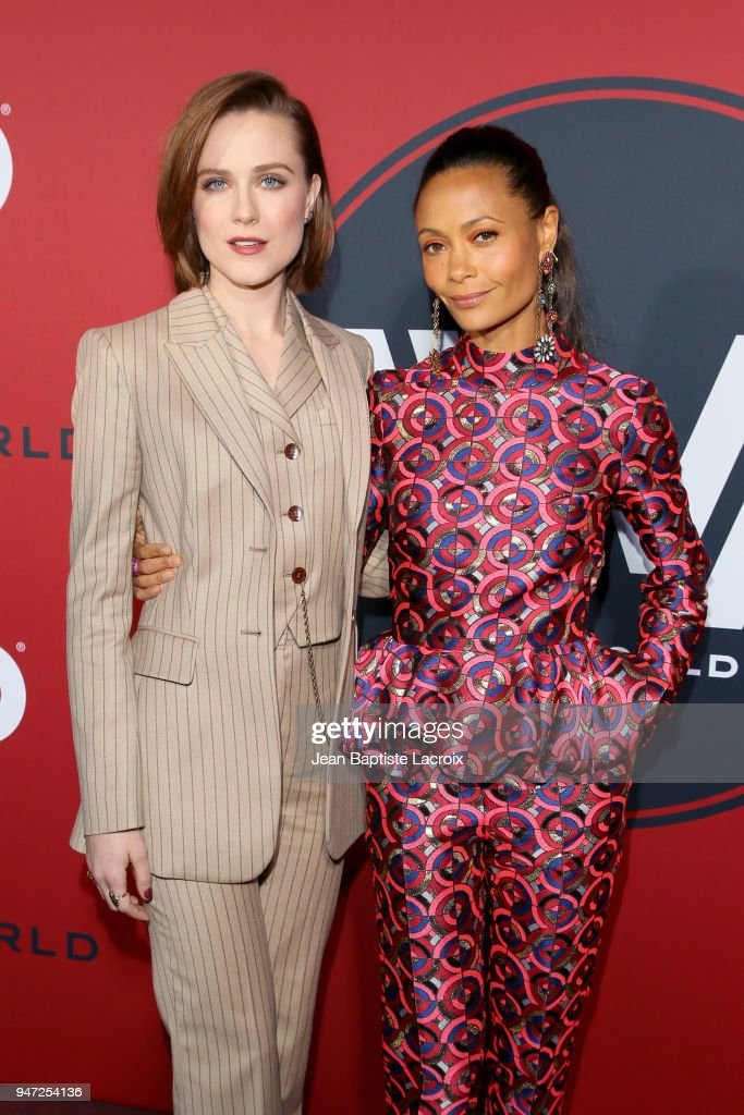 Evan Rachel Wood (L) and Thandie Newton attend the premiere of HBO's 'Westworld' Season 2 at The Cinerama Dome on April 16, 2018 in Los Angeles, California.