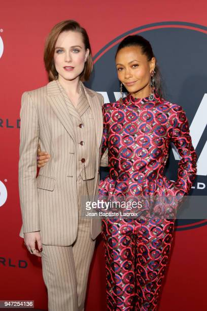 Evan Rachel Wood and Thandie Newton attend the premiere of HBO's Westworld Season 2 at The Cinerama Dome on April 16 2018 in Los Angeles California