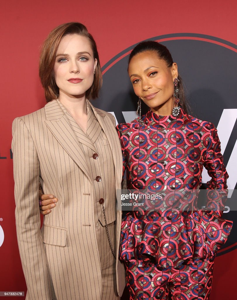 Evan Rachel Wood and Thandie Newton attend the Premiere of HBO's 'Westworld' Season 2 at The Cinerama Dome on April 16, 2018 in Los Angeles, California.