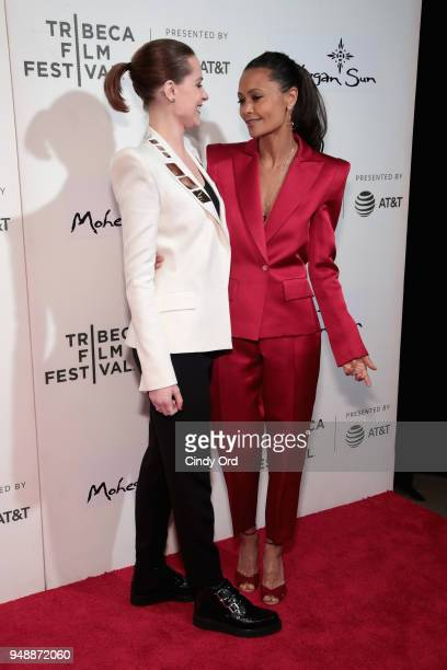 Evan Rachel Wood and Thandie Newton attend the premiere of 'Westworld' during the 2018 Tribeca Film Festival at BMCC Tribeca PAC on April 19 2018 in...
