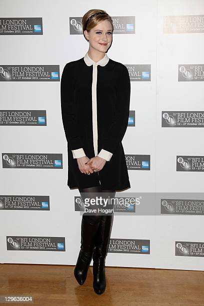 Evan Rachel Wood attends a photocall for 'The Ides Of March' at The 55th BFI London Film Festival at The Odeon West End on October 19 2011 in London...