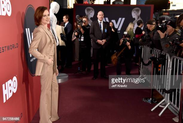 Evan Rachel Wood attends the Los Angeles Season 2 premiere of the HBO Drama Series WESTWORLD at The Cinerama Dome on April 16 2018 in Los Angeles...