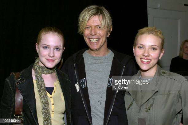 Evan Rachel Wood David Bowie and Scarlett Johansson seen backstage at BOWIE's first concert visit to Los Angeles in nearly seven years This is the...