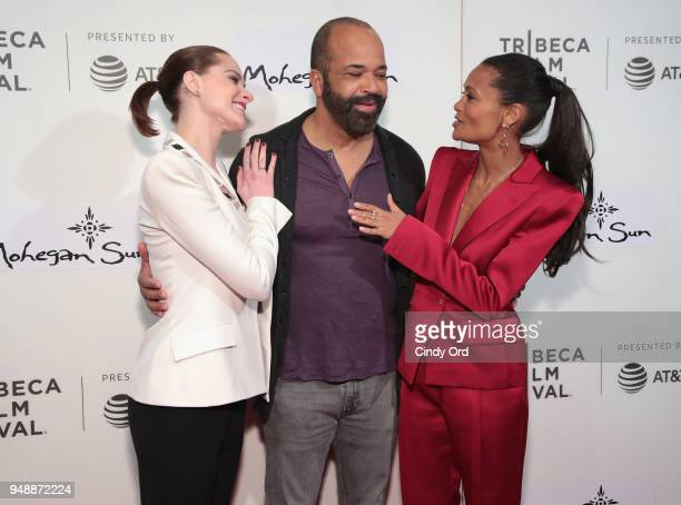 Evan Rachel Wood Jeffrey Wright and Thandie Newton attend the premiere of 'Westworld' during the 2018 Tribeca Film Festival at BMCC Tribeca PAC on...