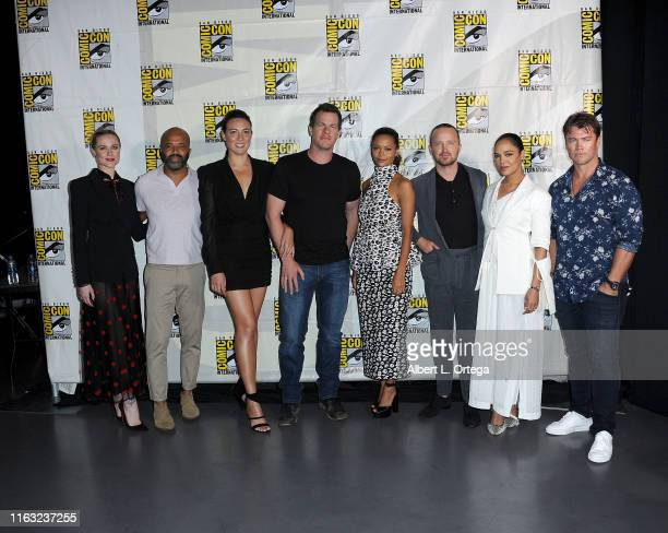 Evan Rachel Wood Jeffrey Wright Lisa Joy Jonathan Nolan Thandie Newton Aaron Paul Tessa Thompson and Luke Hemsworth attend the Westworld III Panel...