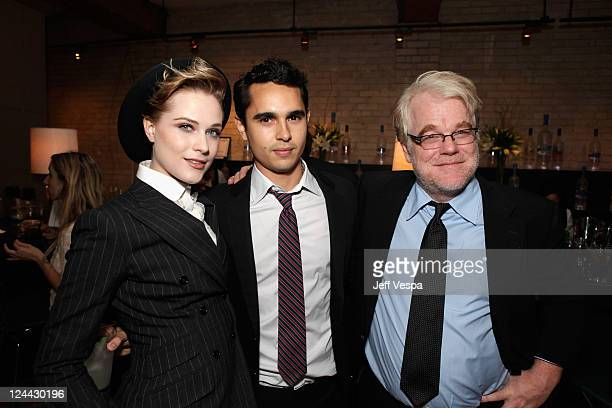 Evan Rachel Wood Max Minghella and Philip Seymour Hoffman attendThe Ides of March party hosted by GREY GOOSE Vodka at Soho House Pop Up Club during...