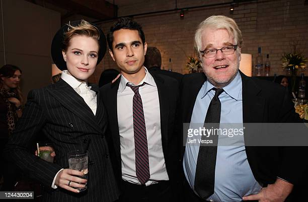 Evan Rachel Wood Max Minghella and Philip Seymour Hoffman attend'The Ides of March' party hosted by GREY GOOSE Vodka at Soho House Pop Up Club during...