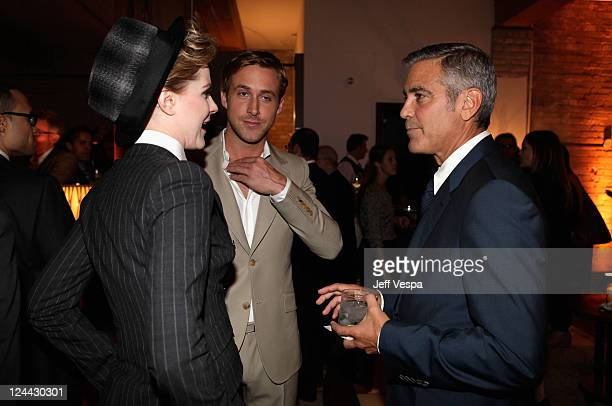 Evan Rachel Wood Ryan Gosling and George Clooney attend The Ides of March party hosted by GREY GOOSE Vodka at Soho House Pop Up Club during the 2011...
