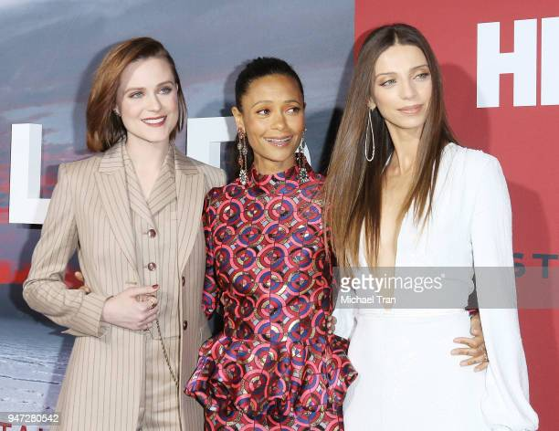 Evan Rachel Wood Thandie Newton and Angela Sarafyan arrive at the Los Angeles premiere of HBO's Westworld season 2 held at The Cinerama Dome on April...