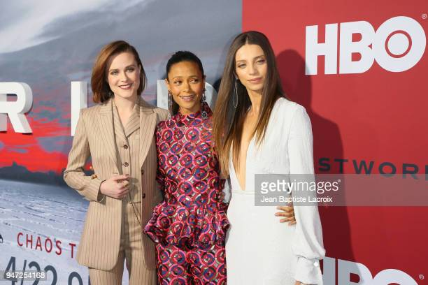Evan Rachel Wood Thandie Newton and Angela Sarafyan attend the premiere of HBO's Westworld Season 2 at The Cinerama Dome on April 16 2018 in Los...