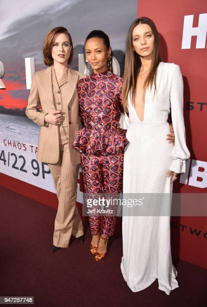 Evan Rachel Wood Thandie Newton and Angela Sarafyan attends the Los Angeles Season 2 premiere of the HBO Drama Series WESTWORLD at The Cinerama Dome...