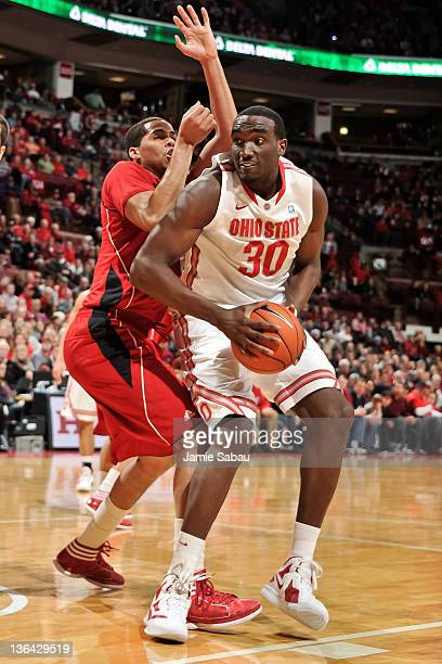 Evan Ravenel of the Ohio State Buckeyes controls the ball against the Nebraska Cornhuskers on January 3 2012 at Value City Arena in Columbus Ohio