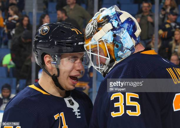 Evan Rodrigues and Linus Ullmark of the Buffalo Sabres celebrate their 31 win against the Columbus Blue Jackets in an NHL game on January 11 2018 at...