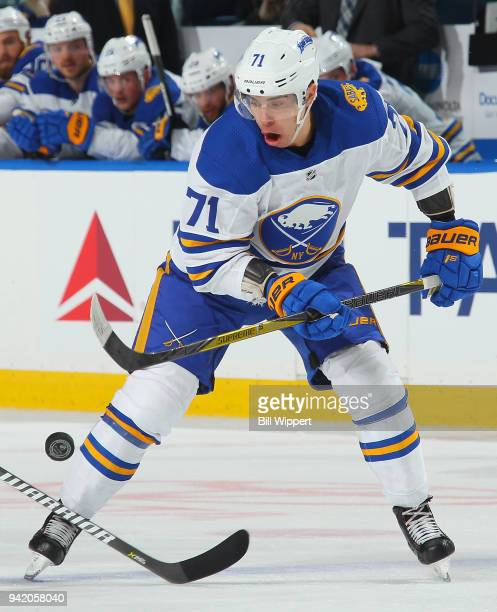 Evan Rodrigues of the Buffalo Sabres carries the puck during an NHL game against the Ottawa Senators on April 4 2018 at KeyBank Center in Buffalo New...