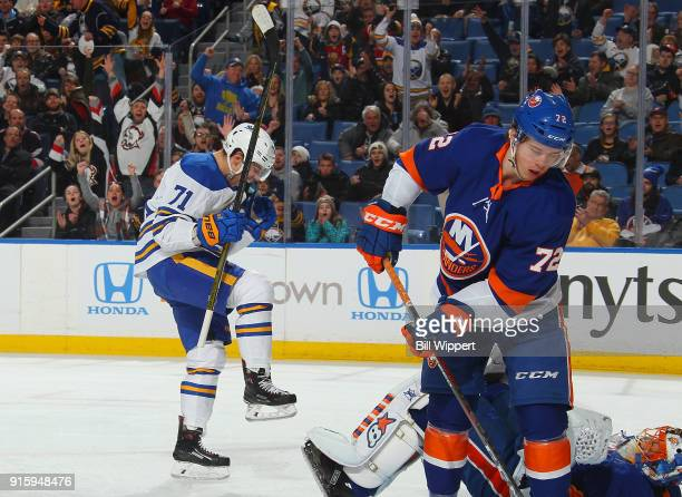 Evan Rodrigues of the Buffalo Sabres celebrates his first period goal against the New York Islanders during an NHL game on February 8 2018 at KeyBank...