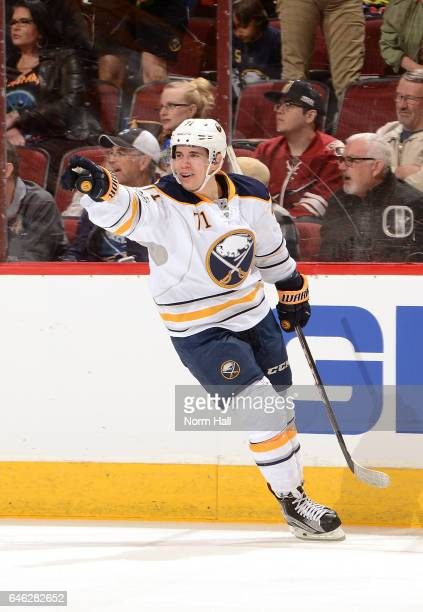 Evan Rodrigues of the Buffalo Sabres celebrates scoring a second period goal against the Arizona Coyotes at Gila River Arena on February 26 2017 in...