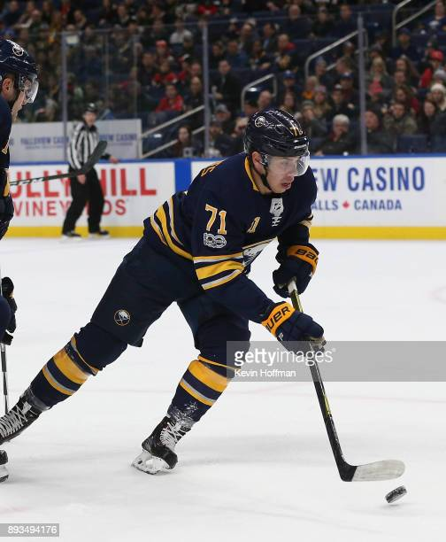 Evan Rodrigues of the Buffalo Sabres during the game against the Ottawa Senators at the KeyBank Center on December 12 2017 in Buffalo New York