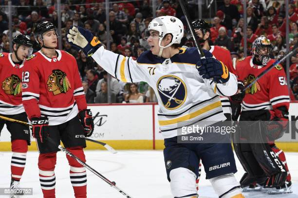 Evan Rodrigues of the Buffalo Sabres reacts after the Sabres scored against the Chicago Blackhawks in the second period at the United Center on...