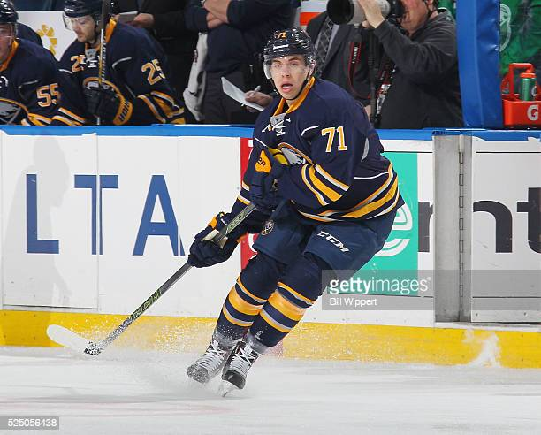 Evan Rodrigues of the Buffalo Sabres skates against the Columbus Blue Jackets during his first NHL game on April 8 2016 at the First Niagara Center...
