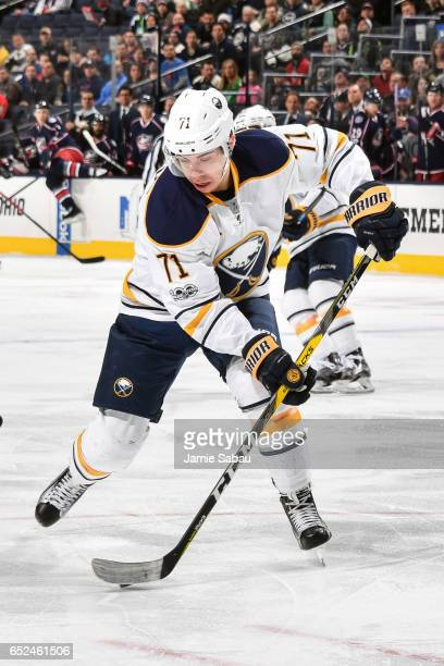 Evan Rodrigues of the Buffalo Sabres skates against the Columbus Blue Jackets on March 10 2017 at Nationwide Arena in Columbus Ohio