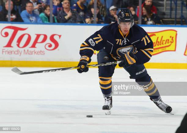 Evan Rodrigues of the Buffalo Sabres skates against the Florida Panthers during an NHL game at the KeyBank Center on March 27 2017 in Buffalo New York