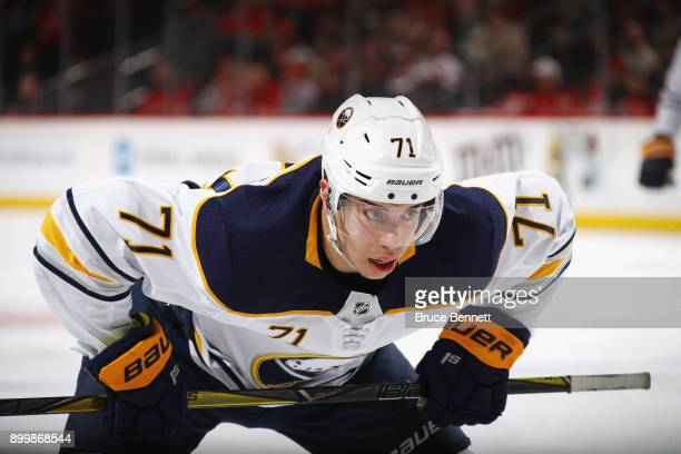 Evan Rodrigues of the Buffalo Sabres skates against the New Jersey Devils at the Prudential Center on December 29 2017 in Newark New Jersey The...
