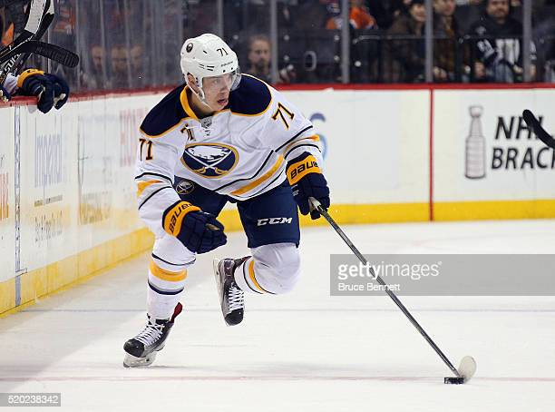 Evan Rodrigues of the Buffalo Sabres skates against the New York Islanders at the Barclays Center on April 9 2016 in the Brooklyn borough of New York...