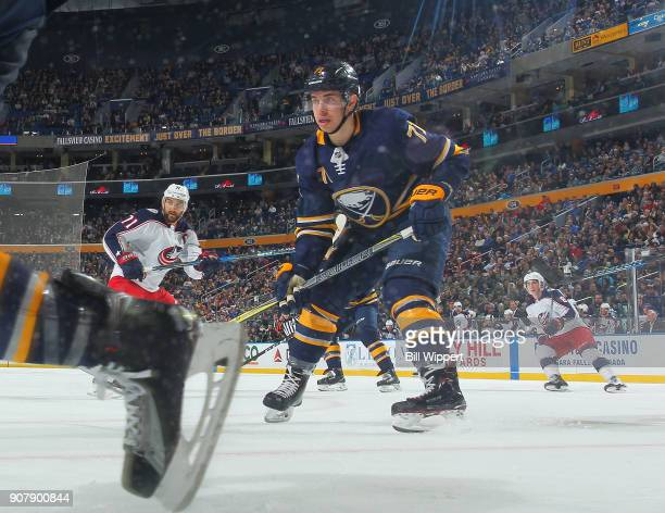 Evan Rodrigues of the Buffalo Sabres skates during an NHL game against the Columbus Blue Jackets on January 11 2018 at KeyBank Center in Buffalo New...