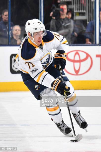 Evan Rodrigues of the Buffalo Sabres skates with the puck during the second period of a game against the Columbus Blue Jackets on March 10 2017 at...