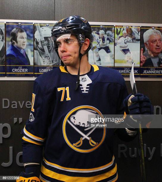 Evan Rodrigues of the Buffalo Sabres waits for warmups to begin before an NHL game against the Ottawa Senators on December 12 2017 at KeyBank Center...