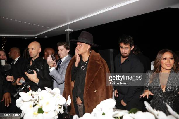 Evan Ross and Adrienne Bailon attend the Lumiere De Vie Hommes Launch Event Aboard Superyacht Utopia IV on October 13 2018 in New York City