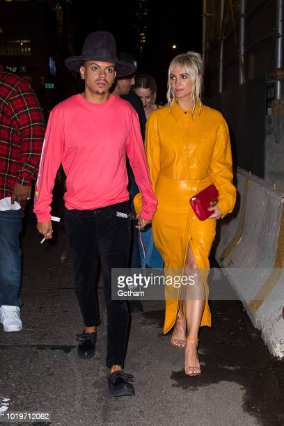 Evan Ross and Ashlee Simpson are seen in Midtown on August 19 2018 in New York City