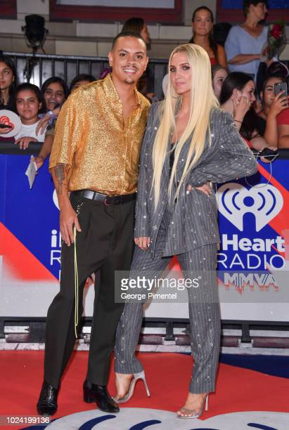 Evan Ross and Ashlee Simpson arrive at the 2018 iHeartRADIO MuchMusic Video Awards at MuchMusic HQ on August 26 2018 in Toronto Canada