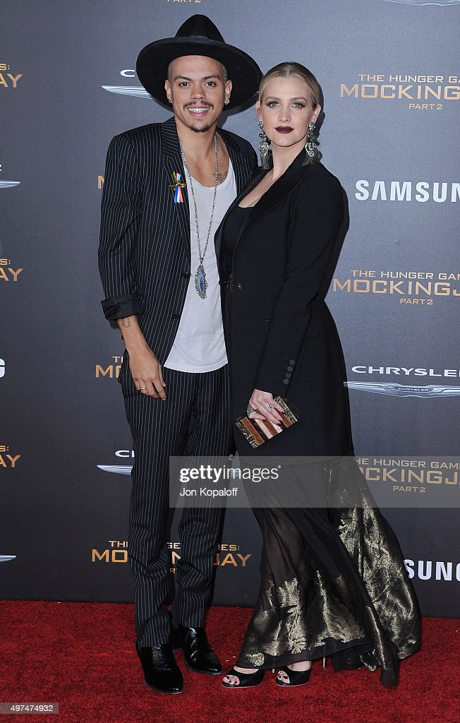 Evan Ross and Ashlee Simpson arrive at the Los Angeles Premiere Of Lionsgate's 'The Hunger Games: Mockingjay - Part 2' at Microsoft Theater on November 16, 2015 in Los Angeles, California.