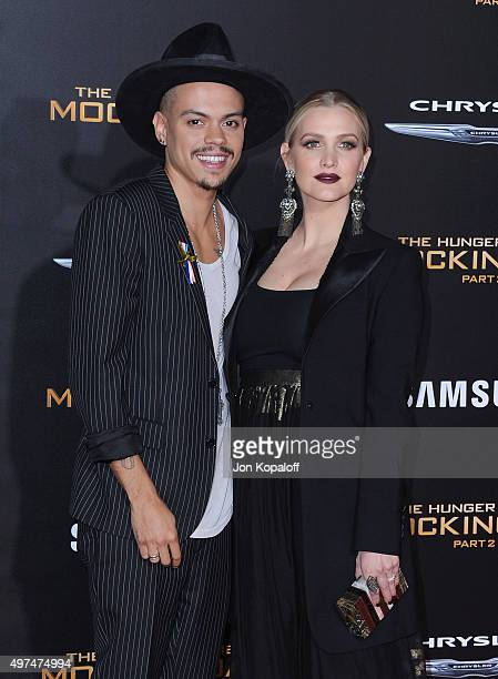 """Evan Ross and Ashlee Simpson arrive at the Los Angeles Premiere Of Lionsgate's """"The Hunger Games: Mockingjay - Part 2"""" at Microsoft Theater on..."""