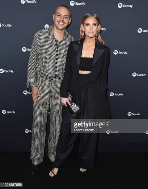 Evan Ross and Ashlee Simpson arrives at the Spotify Best New Artist 2020 Party at The Lot Studios on January 23, 2020 in Los Angeles, California.