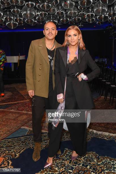 Evan Ross and Ashlee Simpson attend Baja East FW20 Los Angeles runway show at Sunset at EDITION on February 07, 2020 in West Hollywood, California.