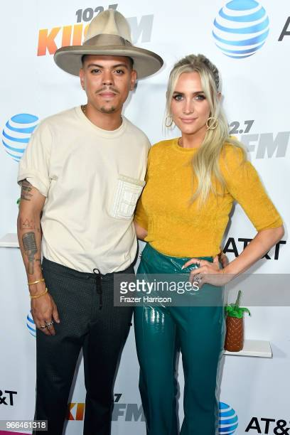 Evan Ross and Ashlee Simpson attend iHeartRadio's KIIS FM Wango Tango by AT&T at Banc of California Stadium on June 2, 2018 in Los Angeles,...
