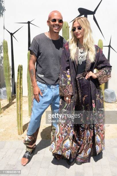 Evan Ross and Ashlee Simpson attend Lucky Brand And Rolling Stone Live Present Desert Jam at ARRIVE Hotel on April 13 2019 in Palm Springs California