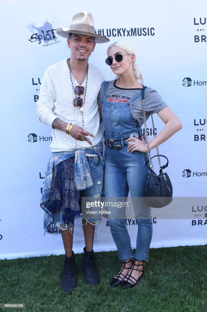 Evan Ross and Ashlee Simpson attend Lucky Lounge Presents Desert Jam on April 15, 2017 in Palm Springs, California.