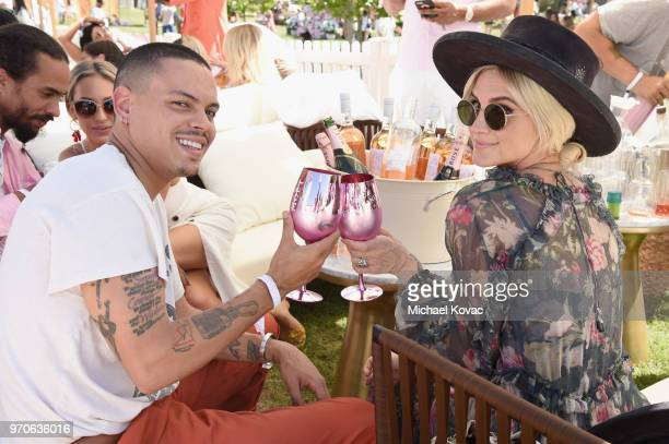 Evan Ross and Ashlee Simpson attend Moët Chandon presents the firstever Rosé Day LA on Moët Grand Day at Saddlerock Ranch on June 9 2018 in Malibu...